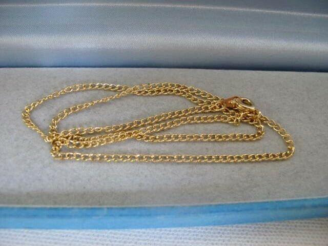 Jewellery - NEW Unworn Vintage 9ct GOLD Plated CURB Chain NECKLACE 16 Inches Jewellery 2.4g