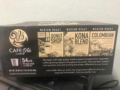 HEB VARIETY Donut Shop /Kona Blend and Colombian Cafe Ole Coffee K-cups 54 -
