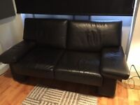Gorgeous Black Leather Sofa - Great Condition, GREAT VALUE