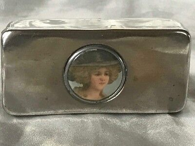 Antique Edwardian Silver Plate & Enamel Pretty Lady Wearing Hat Trinket Pill Box