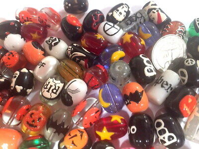 Halloween Window Paintings (Halloween Mix Ghost Pumpkin Spider Candy Hand Painted Beads DIY Jewelry 20 pcs)