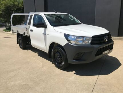 2016 Toyota Hilux TGN121R Workmate Cab Chassis Single Cab 2dr Man 5sp, 4x2 122 White Manual Villawood Bankstown Area Preview