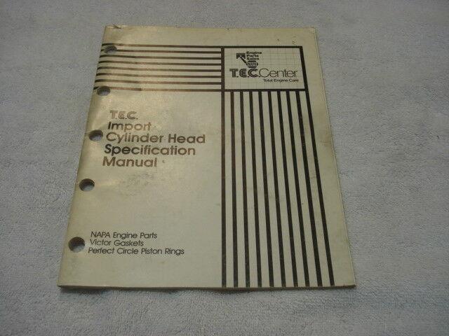 NAPA TEC IMPORT CYLINDER HEAD SPECIFICATION  MANUAL  1973-82