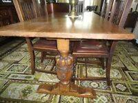 Antique Refectory Table + 6 Chairs