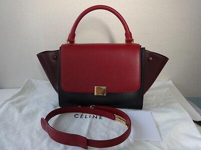 Celine Tri-color Leather TRAPEZE Shoulder bag/w long shoulder strap Mint