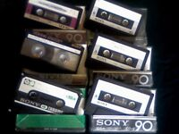 SONY CASSETTE TAPES, C-90CR CHROME 1978, UCX-S CHROME, UCX CHROME, CD-A ALPHA CHROME, ALL ARE C90s