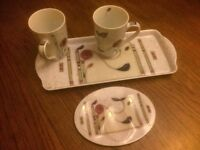 Charles Rennie Mackintosh style rose design pair of large mugs, sandwich tray and spoon rest