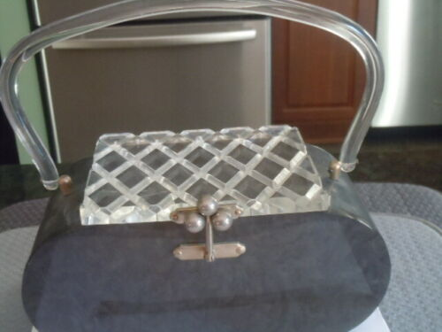 Vintage unmarked pearly gray clear carved top lucite purse