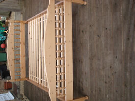 pine double bed frame, slatted base, good condition (mattress available separately))