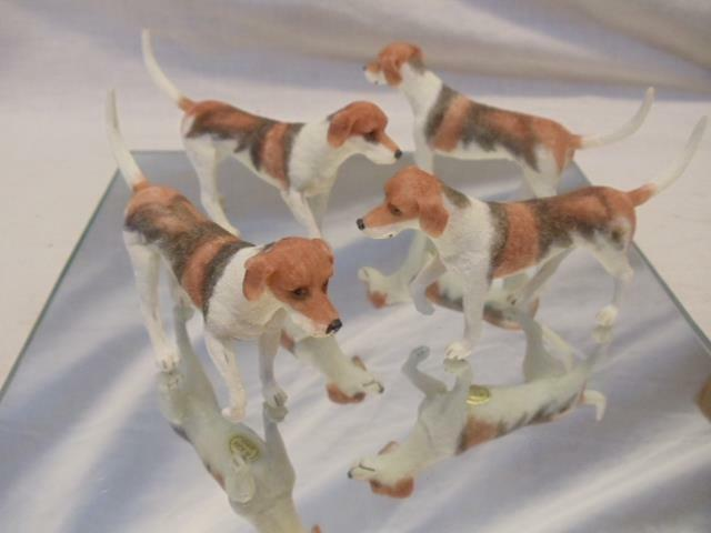 "LOT of 4 Resin American Foxhound Fox Hound Dog NEW 4"" Figurines"