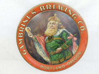 ANTIQUE GAMBRINUS BREWING CO PORTLAND OREGON TIN LITHOGRAPH BEER TRAY