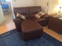 New Brown Leather Sofa, Chair & Stool
