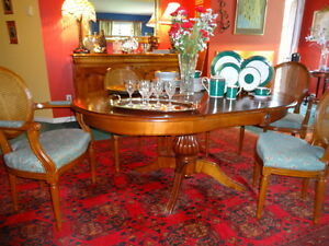 Antique French Dining Room Table with Six Chairs