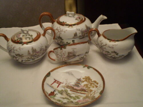 ANTIQUE 5 PC HAND PAINTED PORCELAIN TEA SET - GEISHA - NIPPON - TN  MARK - JAPAN