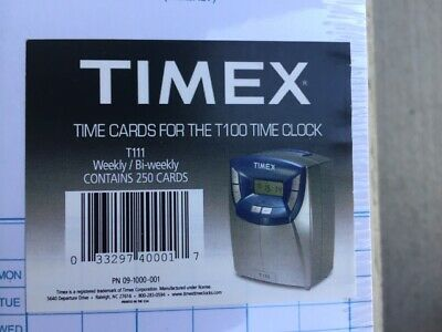 Timex T100 Time Clock 250 Cards T111 - Acroprint Atr120120r 121 Brand New