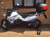 White with black and blue detailing 2015 Lexmoto Adrenalin, 125cc,