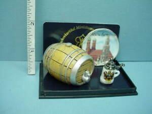 Miniature Beer Barrel, Stein & Plate #50.180/0 Reutter Porcelain 1/12th