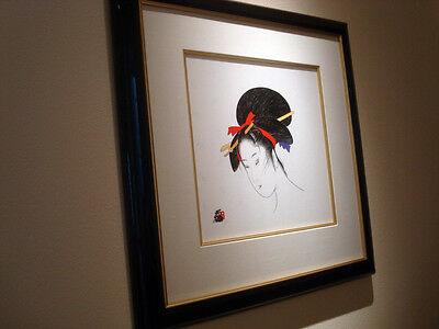 "ORIGINAL HISASHI OTSUKA ""WOMAN RED PURPLE BOW"" PAINTING"
