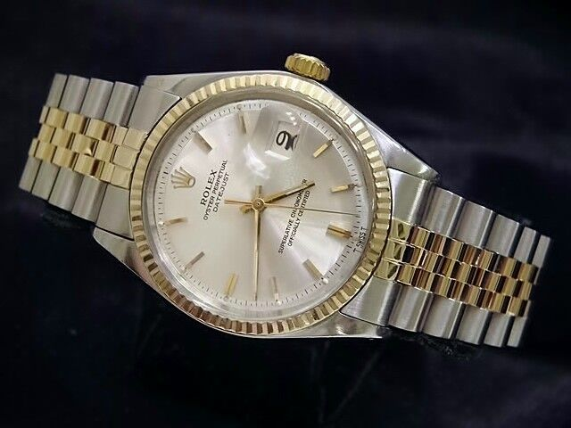 Rolex Datejust Mens 2tone Gold Stainless Steel Watch Jubilee W/ Silver Dial 1601