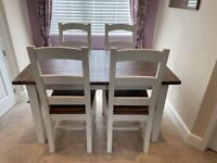 Reclaimed Wood Dining Table and 4 Chairs (White and Natural Wood Finish)