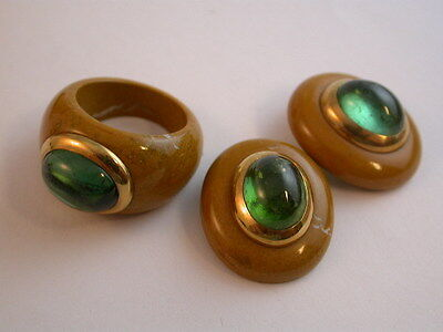 Super feines Designerset Turmalin Ring - Ohrringe Gelbgold 750