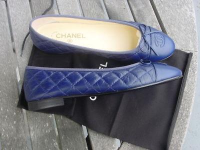 new authentic CHANEL blue CC flat ballerina shoes sz 40.5C +bag