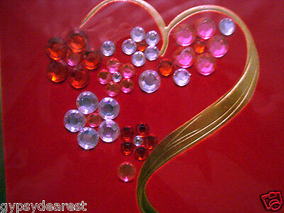 PAPYRUS VALENTINE CARD I LOVE YOU 41 PINK CLEAR RED JEWEL FLOWERS VELVET HEART