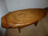 Mid Century Vintage 1960's Coffee Table Solid Elm Sliced Polished Seat Bench 39 inches long