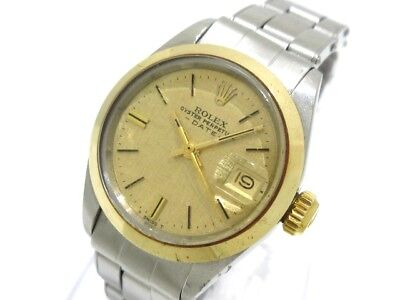 Auth ROLEX Oyster Perpetual Date 6916 ChampagneGold Silver 18KYG 3090385