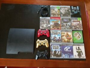 PS3 with 3 Controllers and 14 Games