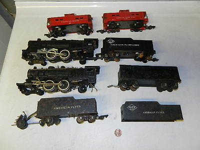 Lot of American Flyer older S gauge engines and cars, parts or restore: 300,302