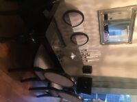 Black gloss NEXT dining room table and black and grey chairs