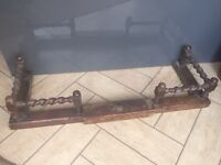 LOVELY OLD EXTENDABLE WOODEN FIREPLACE FENDER -
