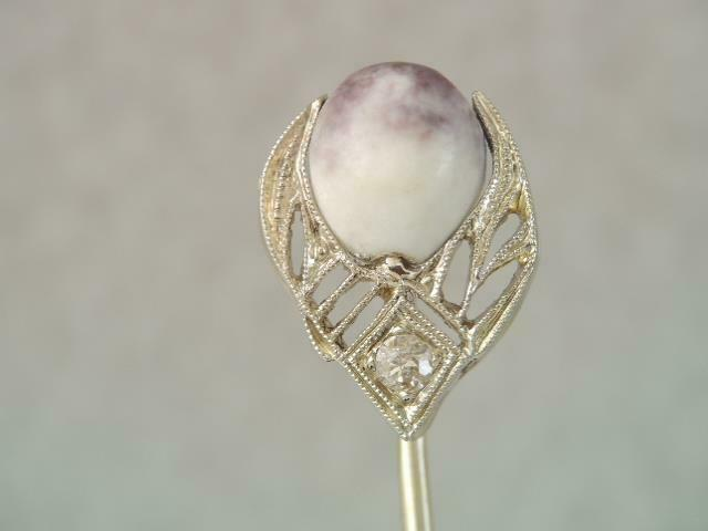 ANTIQUE VICTORIAN SOLID 18K WHITE GOLD & DIAMOND COWRIE SHELL STICK PIN FILIGREE