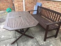 Garden picnic table and separate bench