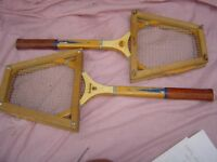 PAIR OF WOODEN TENNIS RACKETS WITH GUARDS