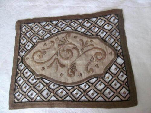 Antique Art Deco Era Embroidered Cutwork Linen Mat Doily w/Metallic Trim Beads