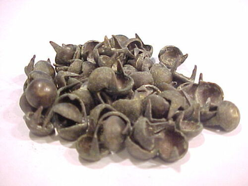 """25 OLD 3/8"""" 19TH C SOLID BRASS STUDS FOR CROW KNIFE SHEATH AND TOMAHAWK HANDLES"""