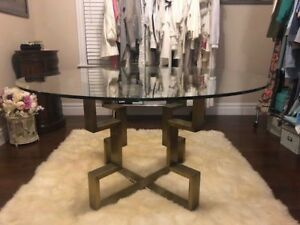 Art Deco Style Table For Sale - Brass with Thick 12mm Glass Top