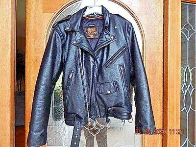 Men's Classic Motorcycle Biker Side Lace Police Leather Jacket Zip Out Liner Classic Side Lace Motorcycle Jacket