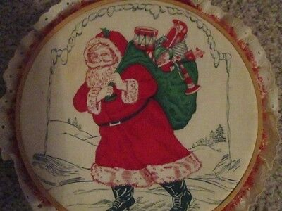 Santa  round decoration very old white eyelet and red lace around outer part 10