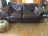 M&S Brown REAL Leather Sofa (2/3 seater)