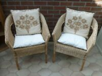 Wicker Rattan chairs with cushions for conservatory