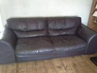 Leather three piece suite and footstool>>>FURTHER REDUCED<<< quick sale