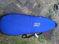 Shortboard 6ft 6 with custom bag and fins