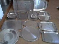 13 x Stainless steel catering trays & 2 meat drainers