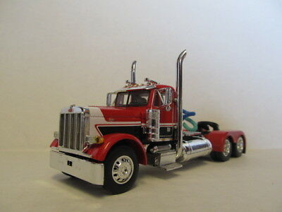 DCP 1/64 SCALE 379 PETERBILT (DAY CAB) RED & BLACK WITH WHITE STRIPE