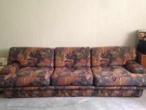 8 Ft. Sofa - designer fabric - excellent condition