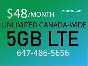$48/m (Bell Telus networks) 5GB LTE - Plans by Jamie