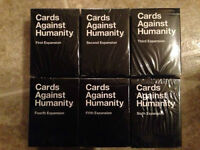 Cards Against Humanity expansions 1-6, brand new, sealed boxes